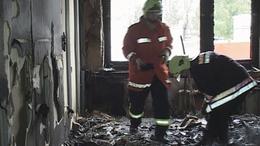 A SZÜV-székház a tűz után